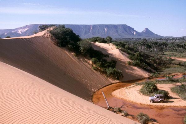 Au milieu du cerrado Tocantins au Brésil se dressent des dunes de sable du Jalapão, pouvant atteindre 40 mètres de hauteur. On peut les escalader pour y admirer le coucher du soleil